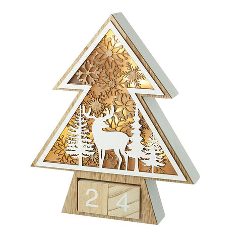 Wooden Light Up Advent Tree