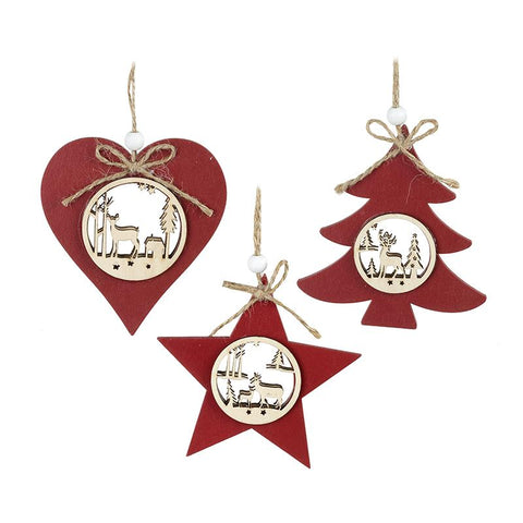 Wooden Cut Out Set Star Heart Tree Set