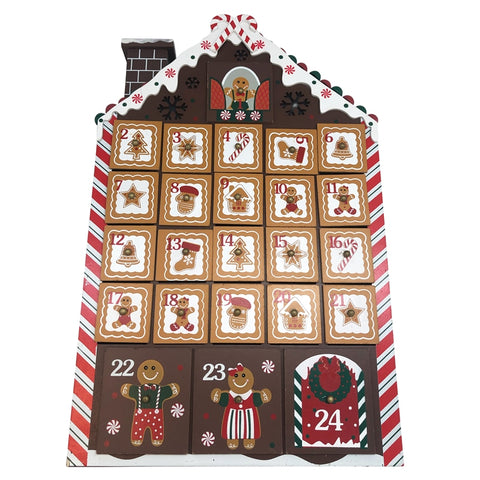 Wooden Gingerbread House Light Up Advent Calendar