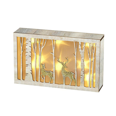 Light Up Birch Woodland With Deer Scene