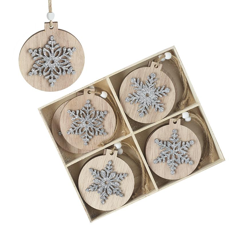 Set Of 12 Wooden Snowflake Baubles