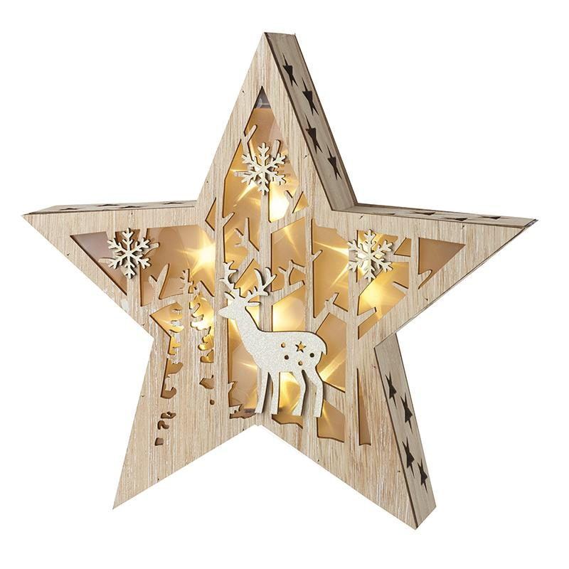 Wooden Led Star Christmas Decoration