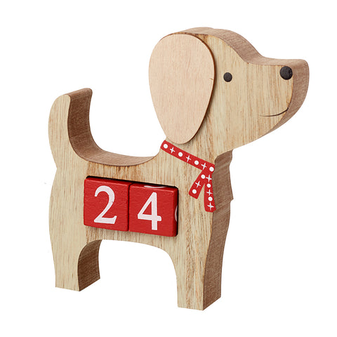 Wooden Dog Advent Calendar