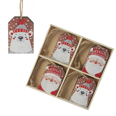 Wooden Polar Bear & Santa Tags Tree Deco