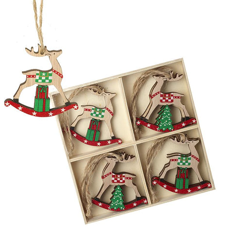 Wooden Hanging Rocking Deers Set