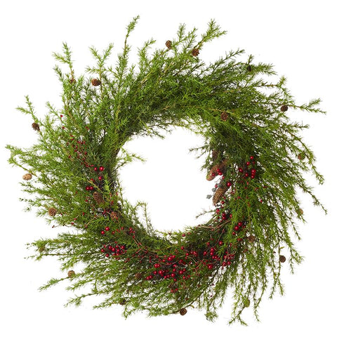 Huge Green Spray And Red Berry Wreath