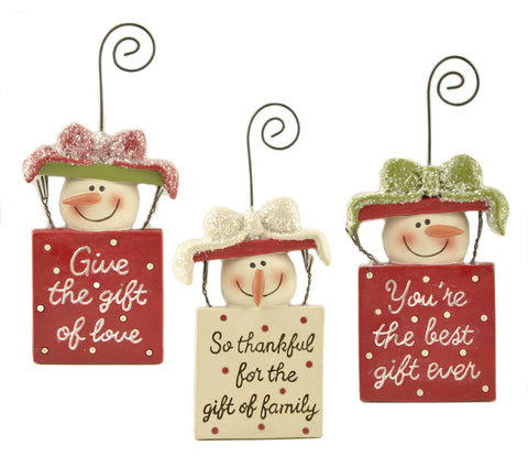Set Of 3 Snowmen Decorations