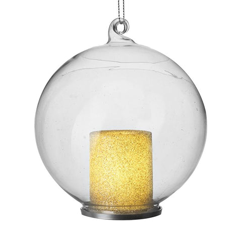 Glass Bauble With Light Up Candle