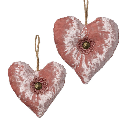 Pink Velvet Hanging Hearts Set