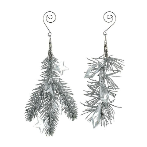 Hanging Beaded Silver Foliage Decoration