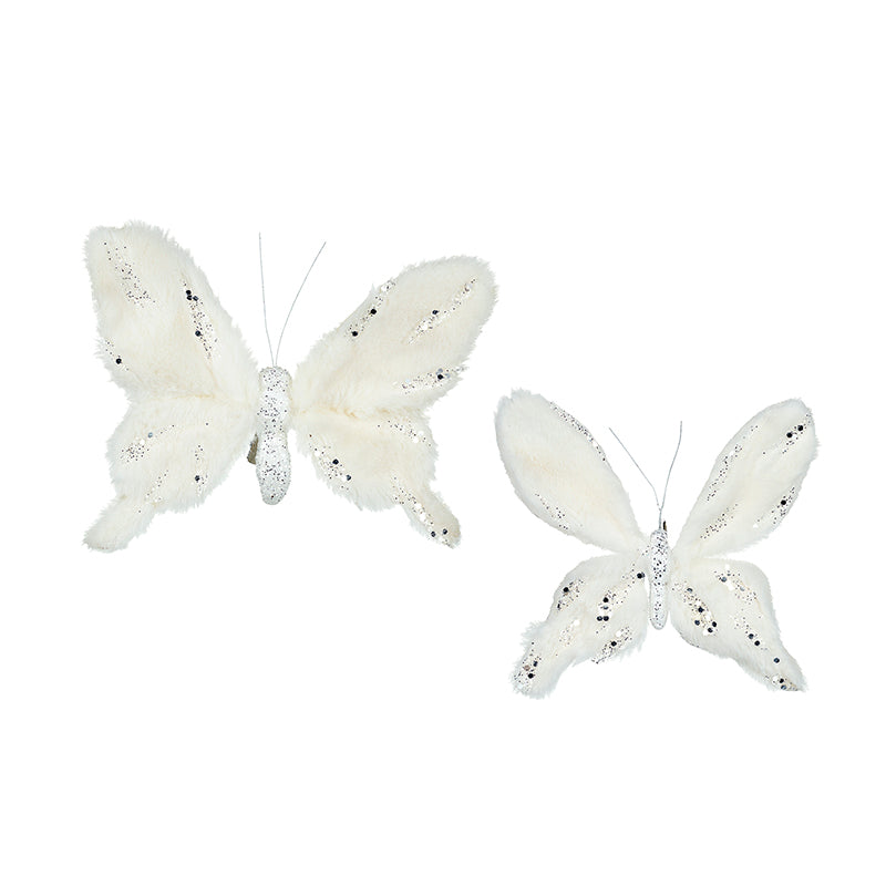 Set of 2 White Butterflies