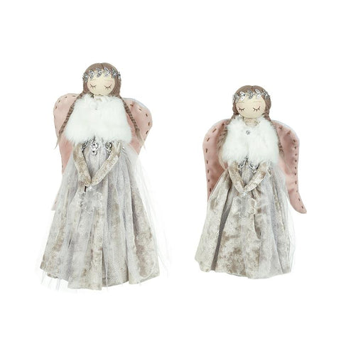 Set Of 2 Angels With Pink Wings