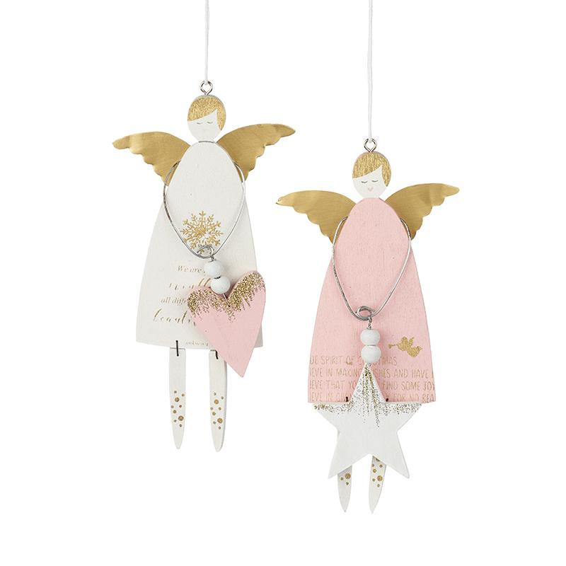Hanging Wooden Angel Decoration Mix