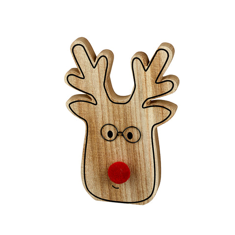 Wooden Reindeer Head with Red Pom Pom Nose