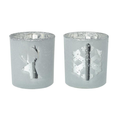 Deer & Snowflake Glass T-Light Holders