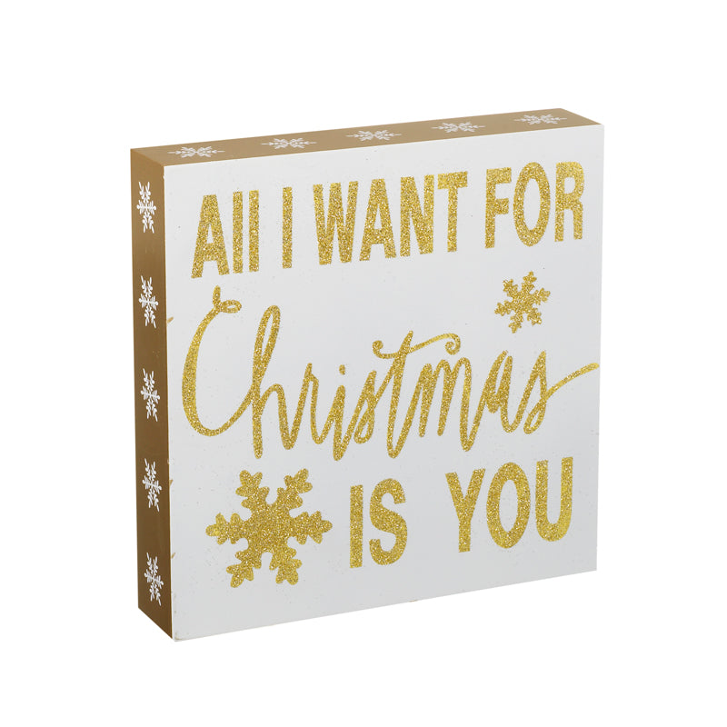 All I Want for Christmas Gold Glitter Sign