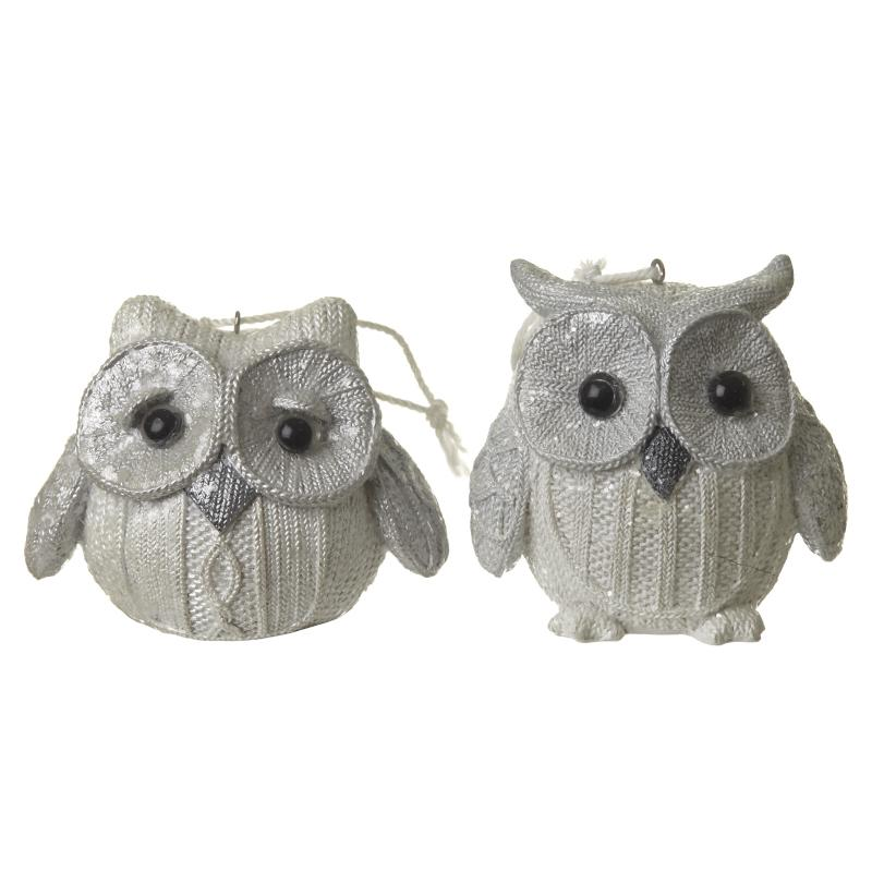 White Polyresin Knitted Effect Owl Mix