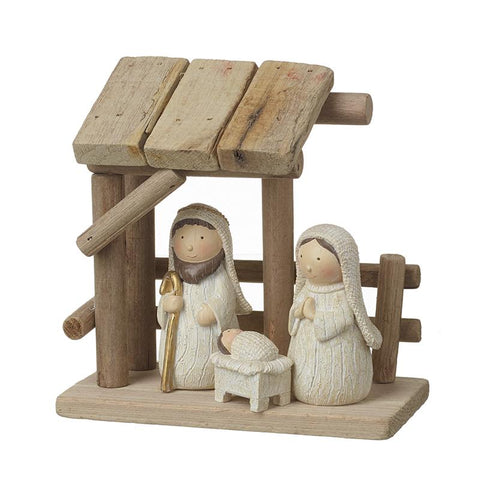 Wooden Nativity With Resin Figures