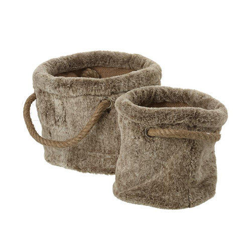 Brown Fluffy Baskets & Rope Handles Set