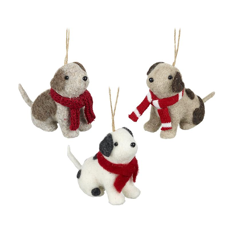 Mix Of 3 Hanging Woollen Dogs In Scarves