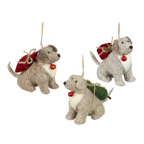 Mix Of 3 Hanging Woollen Dogs