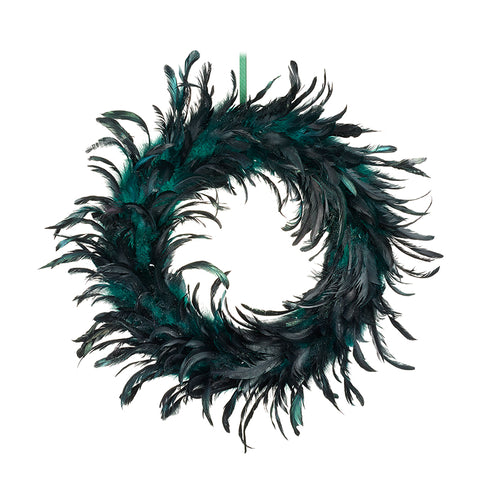 Dark Green Feather Wreath