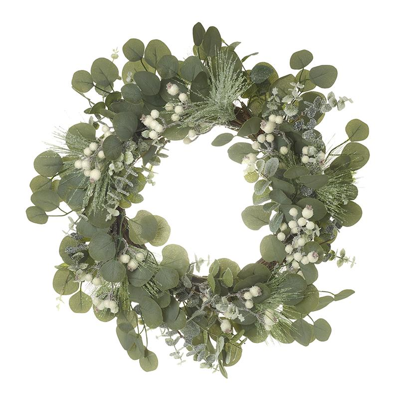 Green Leaf & White Berry Wreath