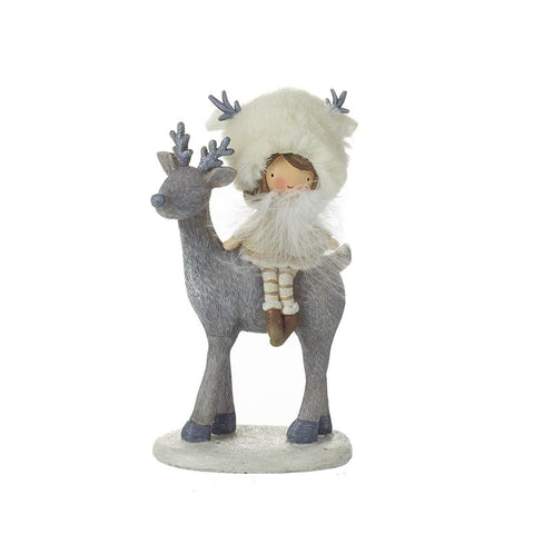 White Resin Girl With Fur Hat On Deer