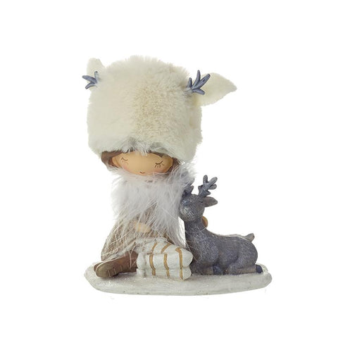 Sitting Girl With White Fur Hat & Deer