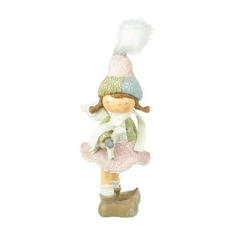 Standing Girl Figure with Pom Pom Hat
