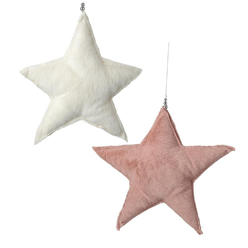 Hanging Medium Felt White & Pink Stars