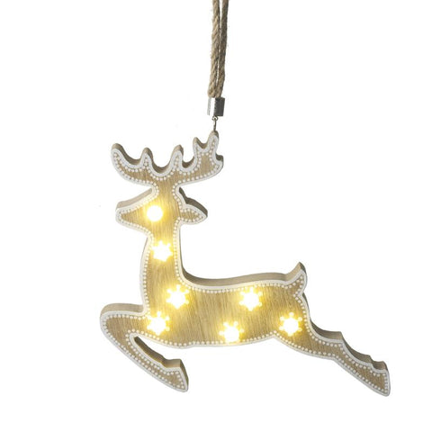 Light Up Deer Hanging Wooden Decoration
