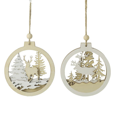 Mix Of 2 Hanging Wooden Cut Out Bauble