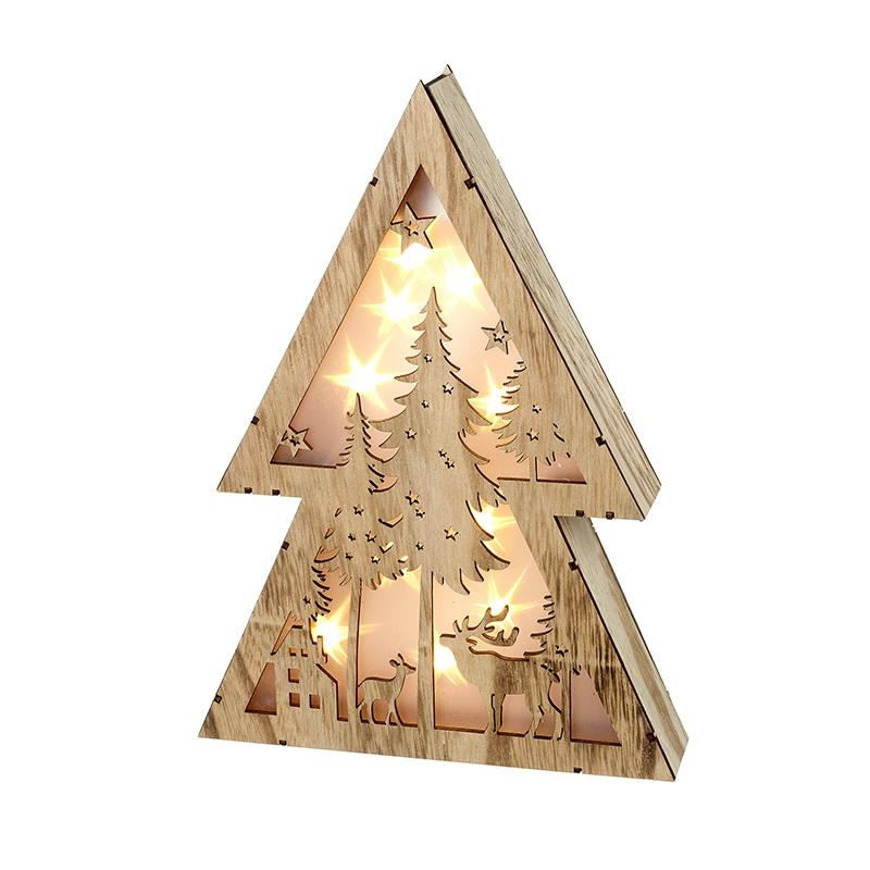 Light Up Wood Christmas Scene