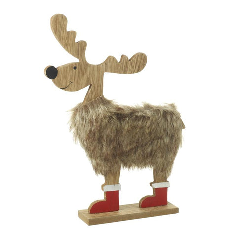 Wooden Deer With Fur And Boots