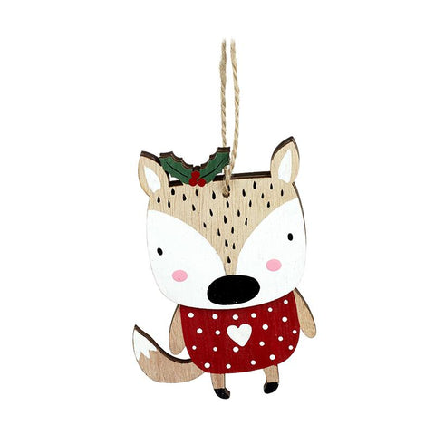 Hanging Wooden Fox With Holly