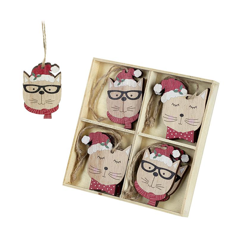 Set Of 8 Wooden Cats In Hats And Glasses