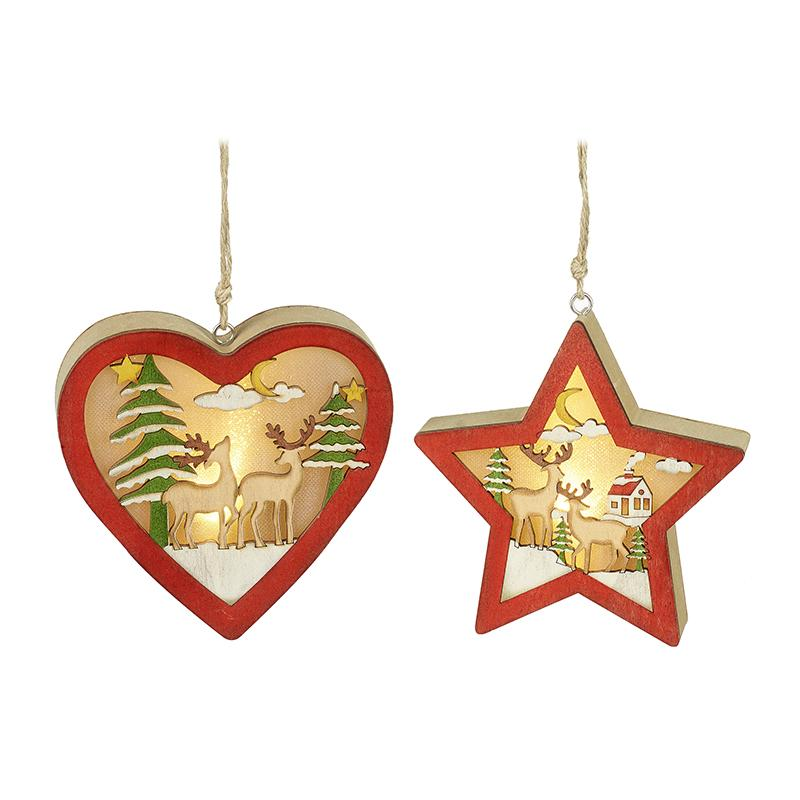 Mix Of 2 Hanging Light Up Heart & Star