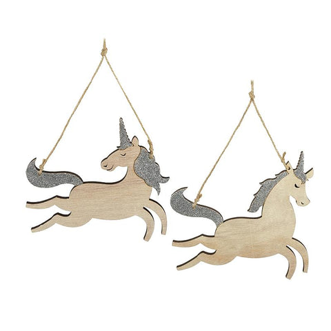 Mix Of 2 Wooden Hanging Unicorns