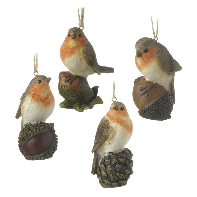 Robins Sitting On Nuts Set Of Four