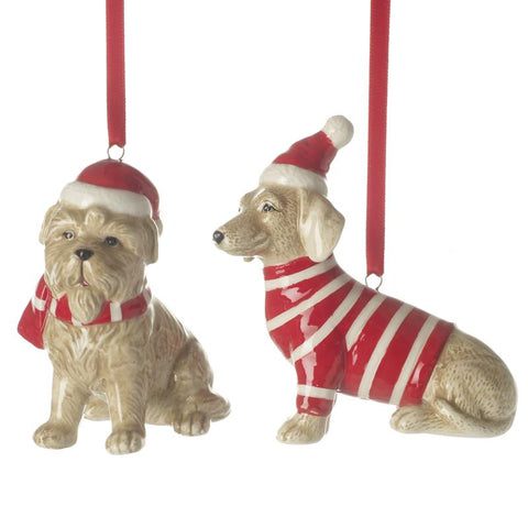 Ceramic Hanging Xmas Dog Mix