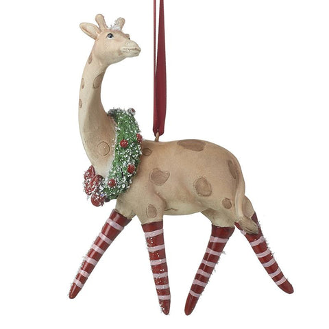 Giraffe With Wreath Hanging Tree Decor