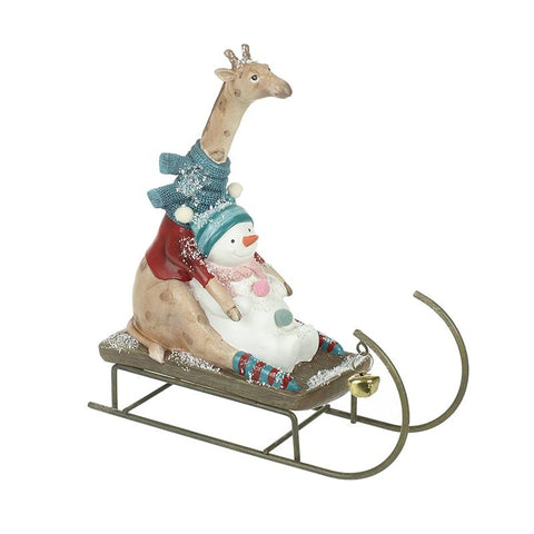 Giraffe & Snowman On Sleigh