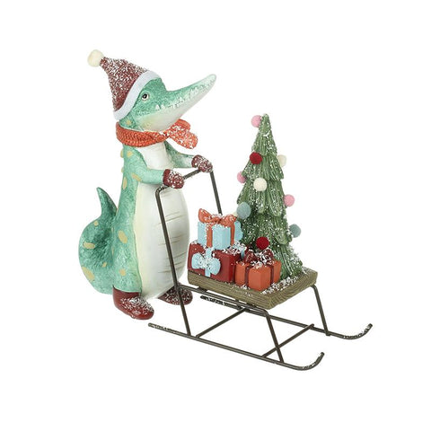 Crocodile Pushing Sleigh