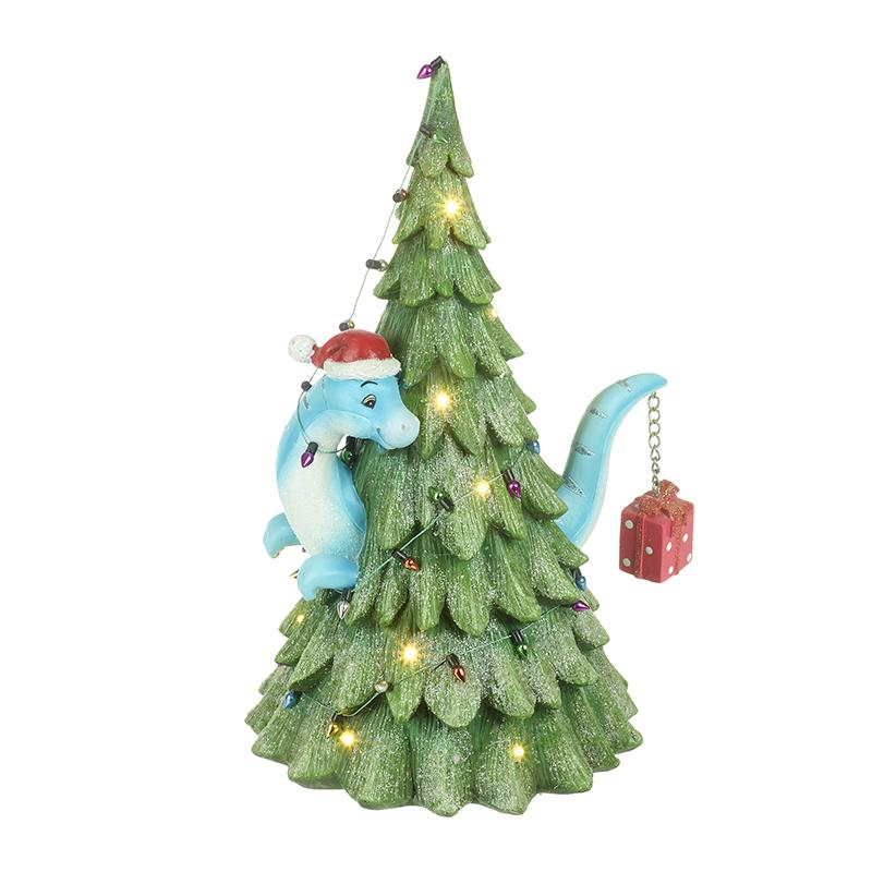 Dinosaur In Christmas Tree With Led
