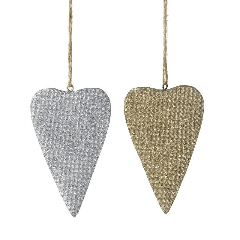 Silver And Gold Resin Hanging Hearts