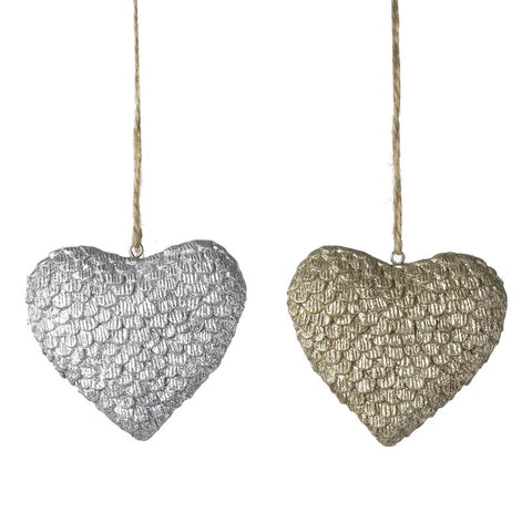 Silver & Gold Resin Hanging Hearts