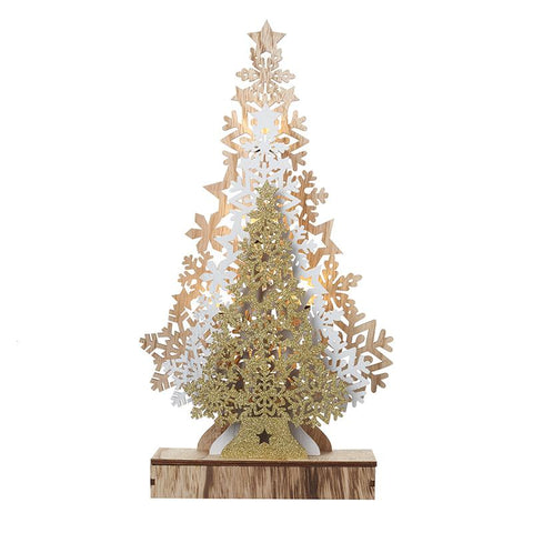 Light Up Gold/Natural & White Trees Led