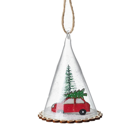 Hanging Glass Decoration With Car & Tree