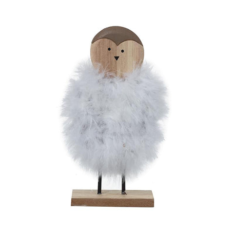 Fluffy Bird On Wooden Stand
